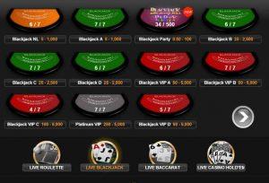 Blackjack tafels bij Casino